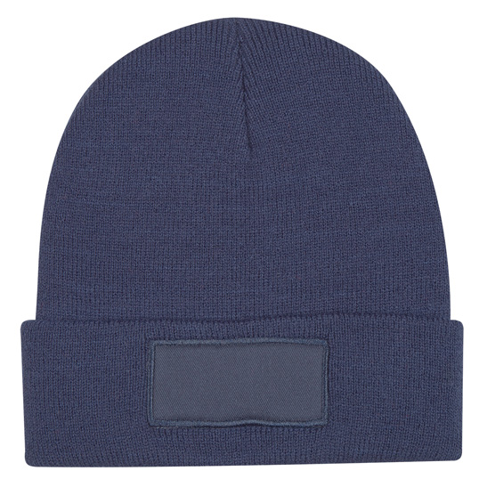 1066 Patch Knit Beanie With Cuff