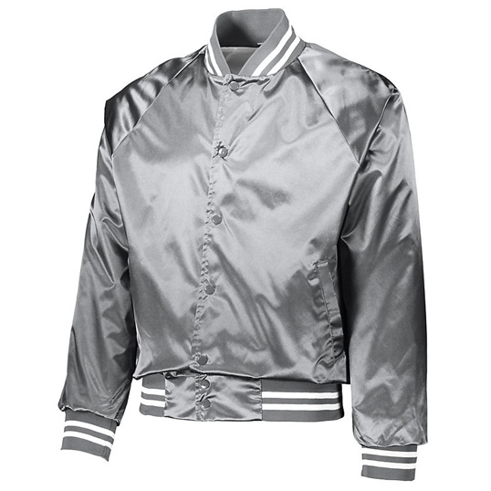 3610 Augusta Satin Baseball Jacket with Striped Trim