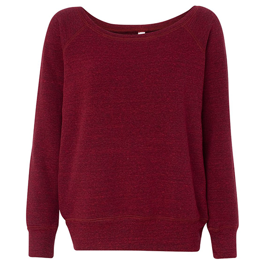7501 Bella + Canvas Ladies Triblend Wideneck Sweatshirt