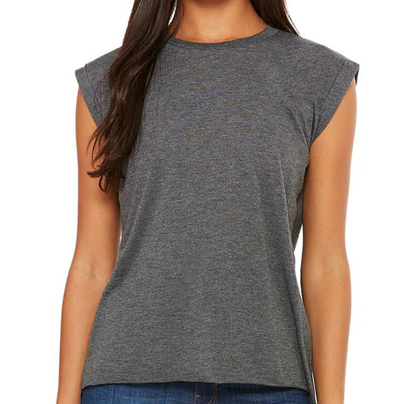 8804 Bella Women's Flowy Muscle Tee with Rolled Cuff