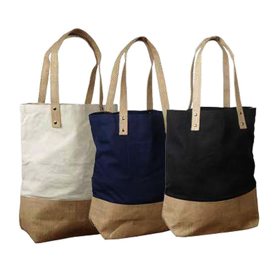 J0209 Cotton Tote bag with Jute Trim and handles - Model Image