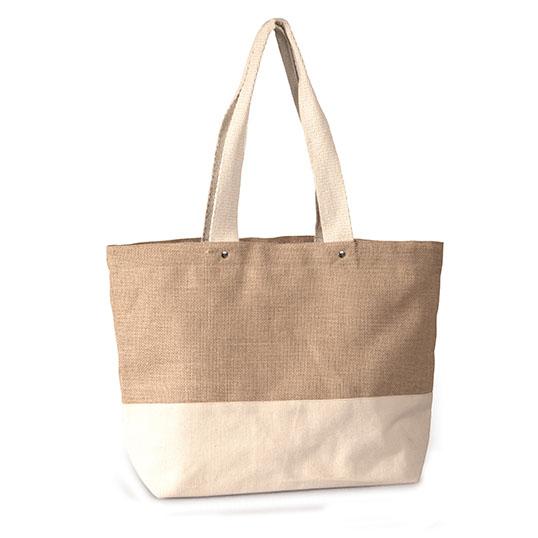 J0218 Cotton Canvas Jute Tote Bag
