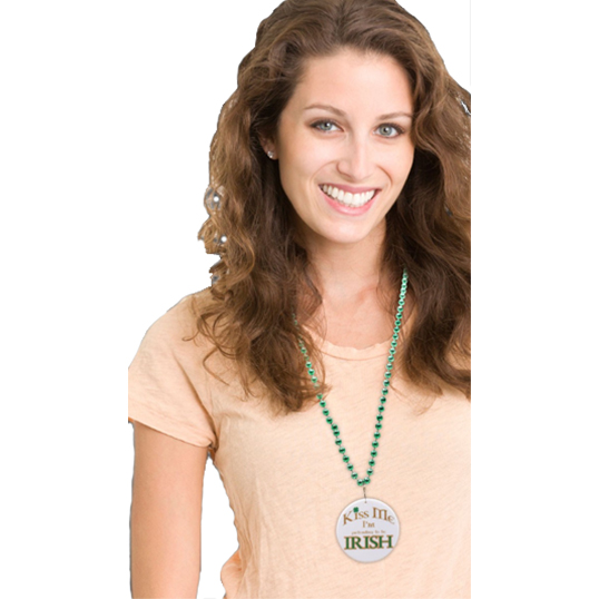 Direct Printed Mardi Gras Beads w/ Pendant - Model Image