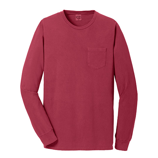 PC099LSP Port & Company Essential Pigment Dyed Long Sleeve Pocket T-shirt